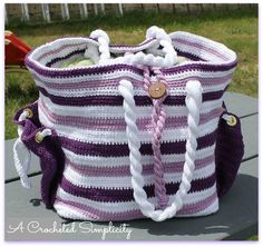 """Nautical Knots"" Beach Bag Set by A Crocheted Simplicity  #handmade #crochetpattern #nautical"
