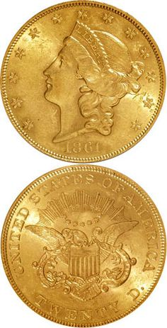 1861 Gold 20 Dollar coin