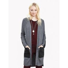 Banana Republic Womens Faux Leather Pocket Cardigan Size XS -... (130 CAD) ❤ liked on Polyvore featuring tops, cardigans, banana republic cardigan, ribbed top, pocket tops, long sleeve cardigan and banana republic tops