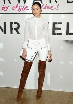 All Right, Olivia Culpo Killed It in White Leather Pants Last Night. #celebritystyle #oliviaculpo