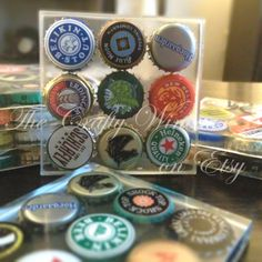 Set of SIX - One of a Kind Beer Bottle Cap Resin Coasters - The Crafty Wineaux