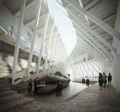 Image 2 of 12 from gallery of Helen & Hard Win Competition to Built Waterfront Cultural Museum in Norway. Courtesy of Helen & Hard Men's Hats, Autocad, Submarine Museum, Win Competitions, Museum Architecture, Hospital Architecture, Drawing Architecture, 3d Architectural Visualization, New Museum