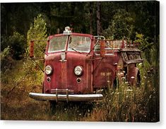 Old Fire Truck Canvas Print - Fire Truck With Texture by Mary Jo Allen