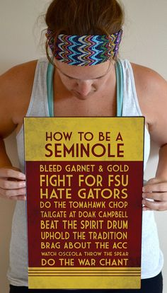 Florida State Art Print, Seminoles Quote Poster Sign, Florida State Football Decor 11 x 17