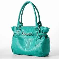 Sag Harbor Aurora Snakeskin Tote ($48) ❤ liked on Polyvore featuring bags, handbags, tote bags, python tote, blue tote, faux leather tote bag, python handbag and blue tote bag