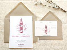 Big Ben London Wedding Invitations - Deposit. $20.00, via Etsy.