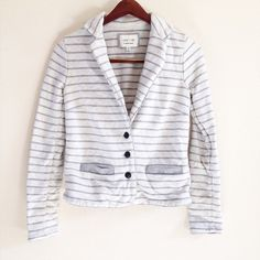 SALE grey striped blazer offers welcome white and grey striped blazer with sweatshirt feel and front faux pockets. has a tiny hole in top layer of color, on tiny stain near side, and some wear in fabric. discount applied. •680087•  website: XOmandysue.com  sign up for surprise, stylist-curated monthly looks based on your style! use code first25 to get your first outfit for just $25!  instagram: XOmandysue Jackets & Coats Blazers
