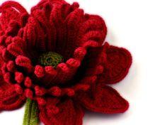 Crochet Brooch Fiber Brooch Red Rose Irish by Nothingbutstring
