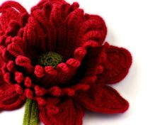 Crochet Brooch Red Rose Irish Lace
