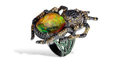 Lydia Courteille. Spider ring, orange Mexican opal, black diamonds, orange…
