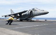 Download wallpapers AV-8B Harrier II, McDonnell Douglas, vertical takeoff and landing, US Navy, aircraft carrier deck