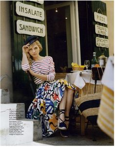 Clemence Poesy, red striped top, patterned long skirt, hat, cafe, style, women's fashion