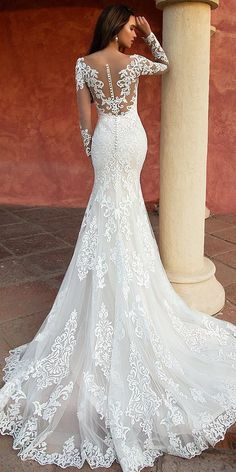 Wonderful Perfect Wedding Dress For The Bride Ideas. Ineffable Perfect Wedding Dress For The Bride Ideas. Mermaid Wedding Dress With Sleeves, Lace Back Wedding Dress, Fit And Flare Wedding Dress, Long Sleeve Wedding, Long Wedding Dresses, Perfect Wedding Dress, Mermaid Dresses, Bridal Dresses, Dresses With Sleeves