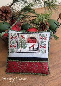 "Needlework Projects Motif from Prairie Schooler's ""Winter Wind"" chart Cross Stitch Pillow, Cross Stitch Love, Cross Stitch Finishing, Cross Stitch Charts, Cross Stitch Designs, Cross Stitch Patterns, Loom Patterns, Cross Stitch Christmas Ornaments, Christmas Embroidery"