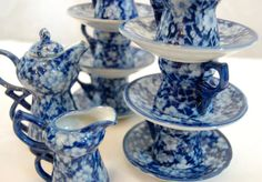 Love this Ironstone!! Vintage Ironstone Flow Blue Tea Set Vintage by TheEclecticInterior, $45.00
