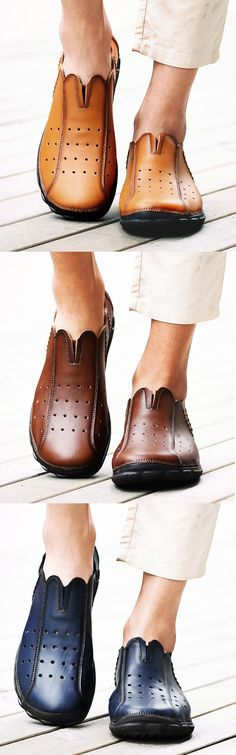 Men Hand Stitching Vintage Hole Breathable Flat Slip On Casual Leather Loafers