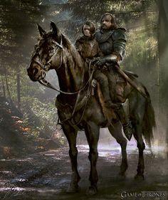 Arya and Sandor: Game of Thrones Season 4 Cover Art by daroz