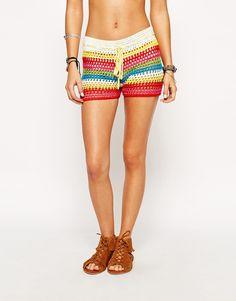 Imagem 4 de Glamorous Petite Stripe Crochet Shorts