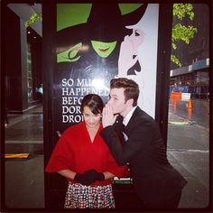 Lea Michele and Chris Colfer filming in New York, recreating the Wicked poster!