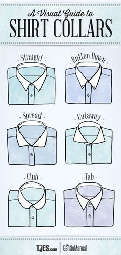 A Visual Guide To Shirt Collars Infographic - Men's Fashion Shirt Collar Styles, Collar Shirts, Collar Types, Shirt Collar Pattern, Sharp Dressed Man, Well Dressed Men, Dandy, Camisa Formal, La Mode Masculine