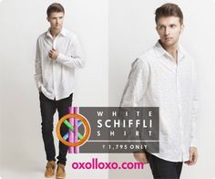 Cast a spell on #summer this season with this soft light weight fabric. Check out the new Schiffli shirt on #Oxolloxo and take a break from the ordinary. Click on http://www.oxolloxo.com/men/white-schiffli-shirt-3113.html to buy NOW! #men #fashion #shirts #global #trendy #white
