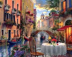 Sailing On Canal In Gondola On Canvas Framed, Drinking Coffee In Venice Wall Art, Italy Painting, Wa Venice Painting, Italy Painting, Canvas Art, Canvas Prints, Art Prints, Mini Canvas, Diamond Paint, Cross Paintings, Oil Paintings