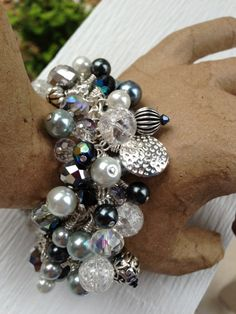 Cluster Bracelet with Crystals Glass Pearls by LucidDreamsJewelry, $55.00