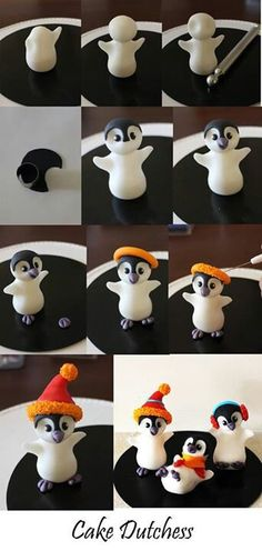 Clay / fondant: Edible penguin step by step from Naera on deviantART - . Clay / fondant: Edible penguin step by step from Naera to deviantART Fondant Toppers, Fondant Cakes, Penguin Cake Toppers, Penguin Cakes, Fondant Bow, Fondant Flowers, Clay Flowers, Cupcake Toppers, Polymer Clay Christmas