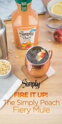 Peach™ Fiery Mule Toast to summer with our refreshing all-natural Simply Peach Fiery Mule.Toast to summer with our refreshing all-natural Simply Peach Fiery Mule. Fancy Drinks, Cocktail Drinks, Cocktail Recipes, Alcoholic Drinks, Beverages, Drink Recipes, Peach Schnapps Drinks, Irish Cocktails, Cocktail