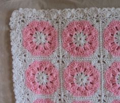 Petal Pink Floral Baby Afghan - free pattern - FaveCrafts.com, thanks so xox