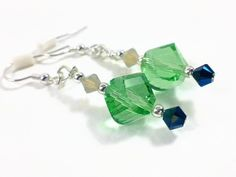 Green Meadows Beaded Dangle Earrings with Swarovski beads.  $20.00  Find more at www.wiredboutique.etsy.com