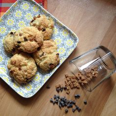 Cookies caramel – chocolat / Bataille Food : Souvenirs d'Avent Caramel, Cereal, Cookies, Breakfast, Desserts, Food, Battle, Advent, Recipes