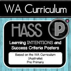 WA HASS Pre-Primary Learning INTENTIONS Posters