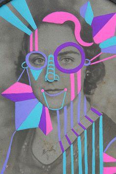 .la douleur exquise.  - Art 1 photo copy re-colors with oil pastel - teach informal balance in a formally balanced portrait