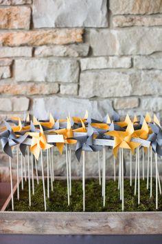 Pinwheel escort cards - seeing lots of pinwheels around! Morton Arboretum Wedding, 2015 Wedding Trends, Wedding Venue Decorations, Wedding Receptions, Little Presents, Seating Plan Wedding, Seating Cards, Wedding Stationary, Blue Wedding