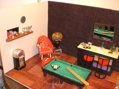 Barbie Doll House GAME ROOM Complete Room Pool Table Bar Ken Trophies Dice Furniture Accessories ooak. $95.00, via Etsy.