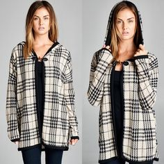 """Serenity"" Plaid Hoodie Cardigan Plaid hoodie cardigan with a front closure. Available in black and ivory. This listing is for the IVORY. Brand new. True to size. NO TRADES. Bare Anthology Sweaters Cardigans"