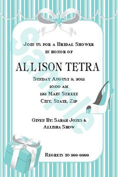 Tiffany Inspired party invitations and favors