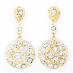Named White Gemstone Decorated Round Shape Design Alloy Stud Earrings  http://earrings.asumall.com/