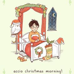 Accio Christmas Morning!  Harry Potter Christmas Card