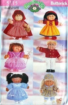 You don't see Cabbage Patch Kids licensed sewing patterns, much anymore, but did you know Cabbage Patch fashions and costumes also fit Build-A-Bear plush toys? These old patterns can still be found, if you know where to look! Doll Clothes Patterns, Doll Patterns, Sewing Patterns, Vintage Patterns, Knitting Patterns, Cabbage Patch Kids Clothes, Cabbage Patch Kids Dolls, Bear Doll, Doll Costume