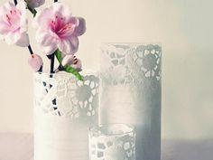 paper doily covered glasses