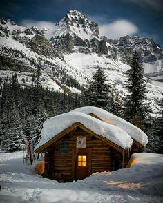 a cabin in winter wonderland