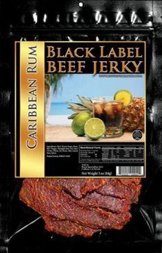Black Label - Liquor Infused Beef Jerky 3-pack - 3 Packs of 3oz Bags (Caribbean Rum) by Black Label -- Awesome products selected by Anna Churchill