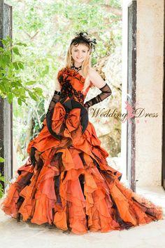 Bridal Orange Black Wedding Dress For Women Ideas