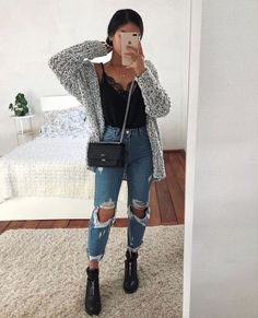 63 simple spring outfits style with jeans 10 Winter Fashion Outfits, Fall Winter Outfits, Look Fashion, Summer Outfits, Fall School Outfits, Rainy Day Outfit For School, Teen Fashion Winter, Ootd Winter, Fall Outfits For Teen Girls