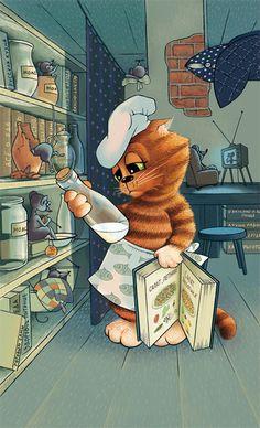 Просмотреть иллюстрацию Кот-повар из сообщества русскоязычных художников автора Бобылёва Алла в стилях: 2D, Компьютерная графика, нарисованная техниками: Компьютерная графика.
