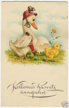 Easter, Newborn Chick with a Goose, cute old postcard