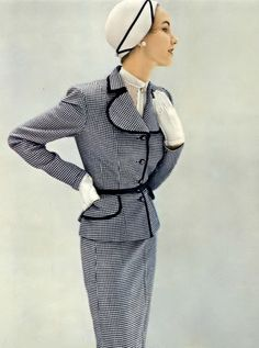 1950 Cherry Nelms in Miron's worsted navy and white checked suit by Etta Gaynes.