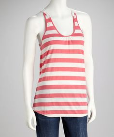 Take a look at this Pink Flush & Off White Crocheted Tank by CONTACT on #zulily today!